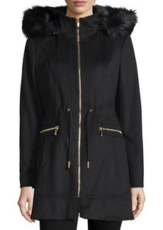 Laundry by Shelli Segal Hooded Faux-Fur Trim Jacket