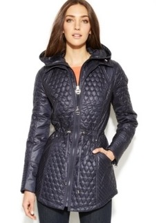 Laundry by Shelli Segal Hooded Layered-Look Quilted Jacket