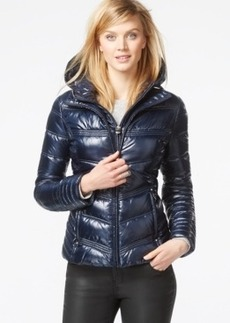 Laundry by Shelli Segal Hooded Metallic Puffer Coat