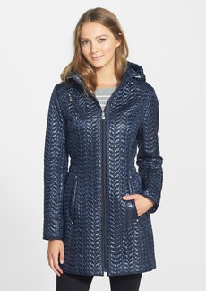Laundry by Shelli Segal Hooded Metallic Quilted Coat (Regular & Petite)