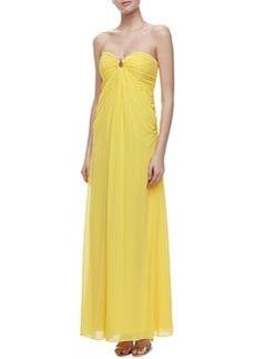 Laundry by Shelli Segal Horseshoe-Neck Chiffon Gown, Canary Yellow
