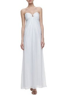 Laundry by Shelli Segal Horseshoe-Neck Chiffon Gown, Optic White