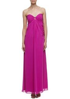 Laundry by Shelli Segal Horseshoe-Neck Chiffon Gown, Shocking Pink