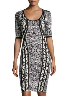 Laundry by Shelli Segal Jacquard Half-Sleeve Sweaterdress