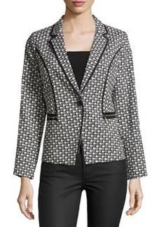 Laundry by Shelli Segal Jacquard One-Button Jacket, Black/Multi