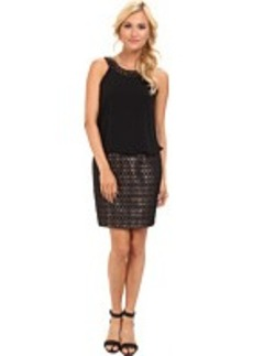 Laundry by Shelli Segal Jersey & Jacquard Blouson Dress