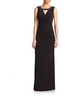 Laundry by Shelli Segal Jersey Beaded-Detail Gown