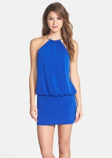 Laundry by Shelli Segal Jersey Minidress with Metal Halter Neck