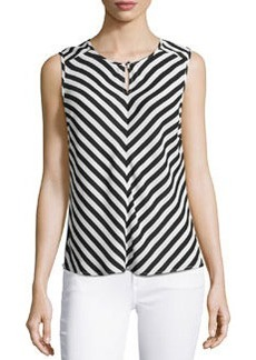 Laundry by Shelli Segal Keyhole Striped Sleeveless Blouse, Black/Multi