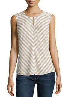 Laundry by Shelli Segal Keyhole Striped Sleeveless Blouse, Oxford Tan/Multi