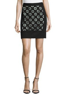 Laundry by Shelli Segal Knit Laser Cut-Detail Skirt, Black/Warm/White