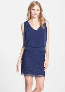 Laundry by Shelli Segal Lace & Jersey Blouson Dress