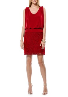 Laundry by Shelli Segal Lace & Jersey Blouson Dress (Regular & Petite)