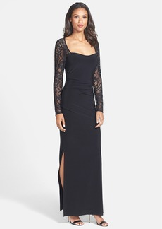 Laundry by Shelli Segal Lace & Jersey Gown