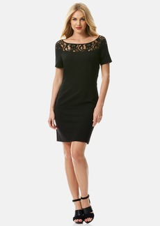 Laundry by Shelli Segal Lace & Knit Sheath Dress