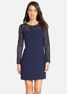 Laundry by Shelli Segal Lace & Texture Crepe Dress
