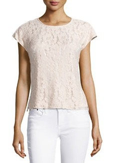 Laundry by Shelli Segal Lace-Front Peplum Top, Silver Peony