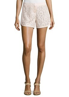Laundry by Shelli Segal Lace-Panel Curved-Hem Shorts, Silver Peony