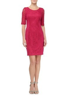 Laundry by Shelli Segal Lace Panel Ponte Sheath Dress