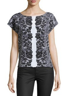 Laundry by Shelli Segal Lace-Print Cap-Sleeve Blouse, Black/Multi