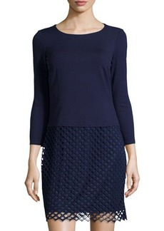 Laundry by Shelli Segal Lace-Skirt Cutout-Back Shift Dress