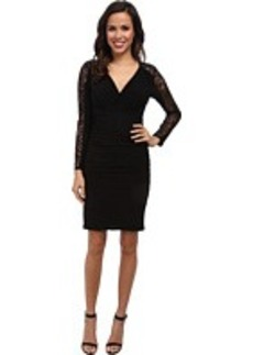 Laundry by Shelli Segal Lace Sleeve V-Neck Shirred Dress