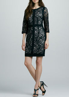 Laundry by Shelli Segal Lace Three-Quarter-Sleeve Dress