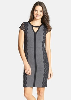 Laundry by Shelli Segal Lace Trim Ponte Sheath Dress
