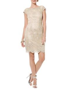 LAUNDRY BY SHELLI SEGAL Lace V Back Sheath Dress