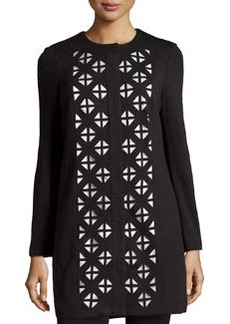 Laundry by Shelli Segal Laser Cutout Long-Sleeve Topper, Black/Warm White