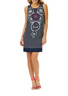 LAUNDRY BY SHELLI SEGAL Layered Medallion Print Shift Dress