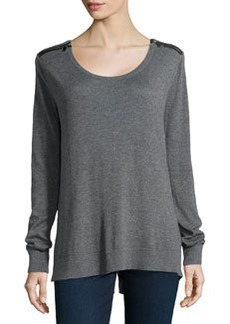 Laundry by Shelli Segal Leather-Trim Split-Hem Sweater, Dark Charcoal