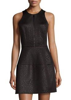 Laundry by Shelli Segal Leopard-Jacquard Sleeveless Zip-Front Scuba Dress