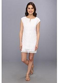 Laundry by Shelli Segal Linen T-Dress w/ Lace