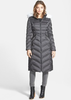 Laundry by Shelli Segal Long Quilted Coat with Removable Faux Fur Trim Hood