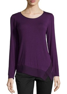 Laundry by Shelli Segal Long-Sleeve Chiffon-Trim Jersey Tee