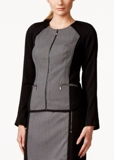 Laundry by Shelli Segal Long-Sleeve Contrast-Panel Zipper Jacket