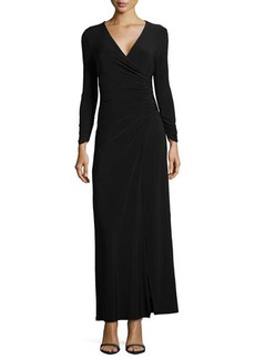 Laundry by Shelli Segal Long-Sleeve Faux-Wrap Gown