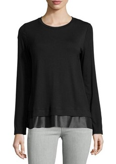 Laundry by Shelli Segal Long-Sleeve Jersey Mixed-Media Top