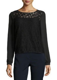 Laundry by Shelli Segal Long-Sleeve Lace Blouse, Black