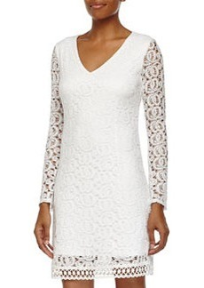 Laundry by Shelli Segal Long-Sleeve Lace Shift Dress, Optic White