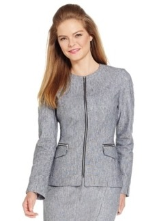 Laundry by Shelli Segal Long-Sleeve Linen Zipper Jacket