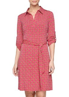 Laundry by Shelli Segal Long-Sleeve Stretch-Knit Shirtdress, Magenta Rose Multi