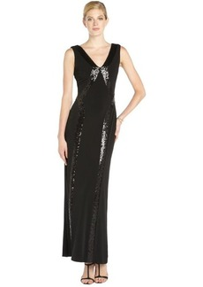 Laundry by Shelli Segal matte black stretch jersey sequined sleeveless gown