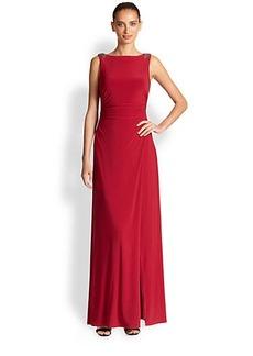 Laundry by Shelli Segal Matte Jersey Drape-Back Gown