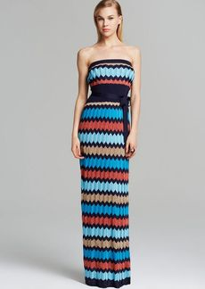 Laundry by Shelli Segal Maxi Dress - Strapless Chevron Knit