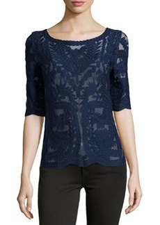 Laundry by Shelli Segal Mesh & Lace Boat-Neck Top, Inkblot (Blue)