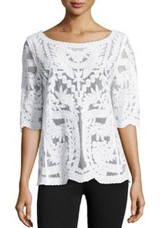 Laundry by Shelli Segal Mesh & Lace Boat-Neck Top, Optic White