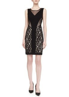 Laundry by Shelli Segal Mesh Lace Illusion Dress, Black/Nude
