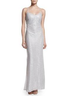 Laundry by Shelli Segal Metallic Crisscross-Back Column Dress  Metallic Crisscross-Back Column Dress